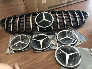 New Mercedes Benz C class W204 W205 Mirror Gloss Front Grille Star Badge Emblem