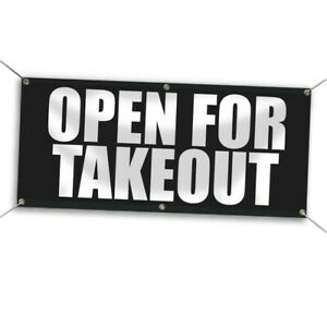 2 X 5 Open For Takeout Vinyl Banner Black And White Outdoor Sign