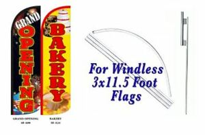 Grand Opening Bakery Windless Swooper Flag With Complete Kit