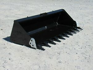 84 Heavy Duty Low Profile Tooth Dirt Bucket Fits Skid Steer Quick Attachment