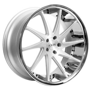 4 22 Staggered Azad Wheels Az23 Silver Machined With Chrome Lip Rims b31