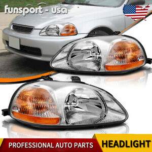 Headlights For 1999 2000 Honda Civic 2 4 Door Dx Ex Ex R Si Headlamp Chrome Lamp