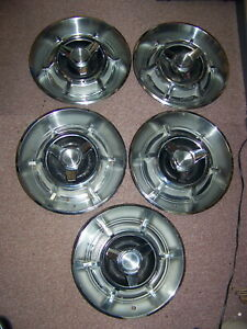 1966 1967 Dodge Charger Spinner Hubcaps Oem Set Of 5