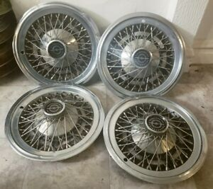 Set Of 4 Oem 1974 79 Ford Thunderbird T Bird 15 Wire Spoke Hubcap Wheel Covers