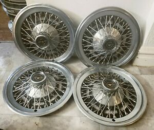 Set Of 4 Oem 1974 79 Ford Thunderbird T Bird 15 Wire Spoke Hubcaps Wheel Covers