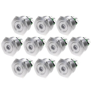 10 Pcs Illuminated Latching Push Button Switch 30mm 12v Green