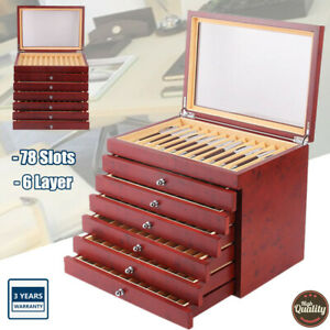 78 Fountain Pen Wood Plexiglass Display Case Organizer Storage Collector Box Hot