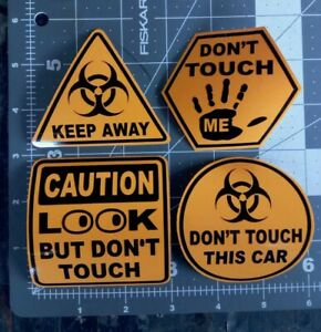 Lot X4 Look But Don T Touch Vintage Racing Car Vinyl Sticker Caution Covid Virus