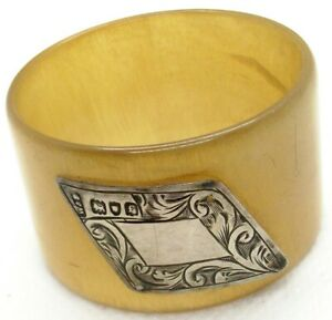 Vintage English Hallmarked Sterling Silver And Celluloid Napkin Ring