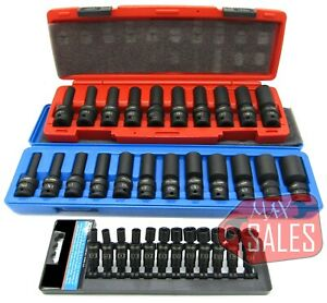 34pc 3 8 1 4 Drive Universal Ball Swivel Deep Impact Socket Set Sae Metric