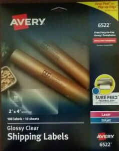 Avery 6522 Glossy Clear Shipping Labels 2 X 4 100ct Sure feed Inkjet Laserjet