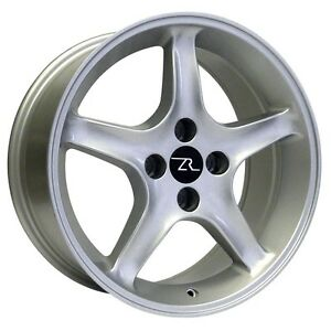 17 Silver Ford Mustang Cobra R Replica Wheels Staggered 17x8 17x9 4x108 87 93