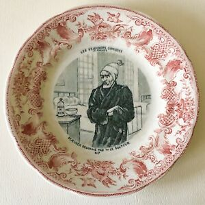 Antique 1870 Gien France Red Transferware Comic Lunches Doctor Sick Motto Plate