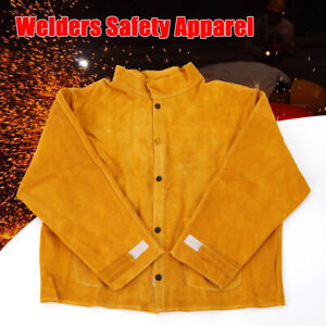L 3xl Leather Safety Welding Coat Protective Apron Apparel Jacket Yellow Suit
