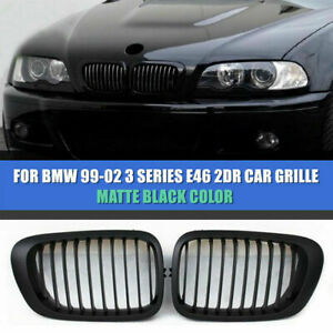 New Matte Black Kidney Front Grilles For Bmw E46 325ci 330ci 2 Door Coupe 99 02