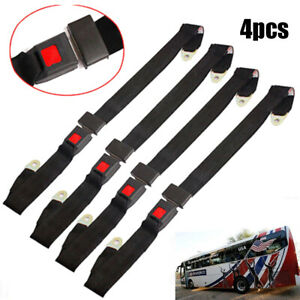 4pack Universal Lap Seat Belt 2 Point Adjustable Retractable Car Single Seat Lap
