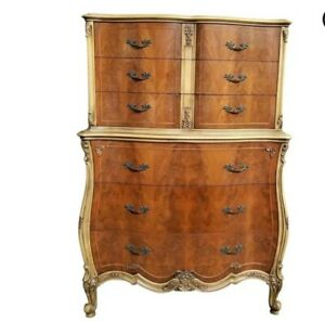 Antique 1930 S French Style Walnut Matched Burl Highboy Dresser Joerns Brothers