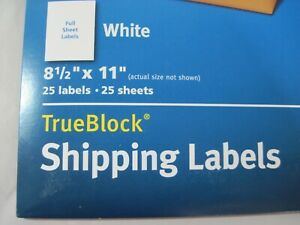 Avery 8165 White Shipping Labels 8 1 2 X 11 25 Full Sheet Labels Ave8165