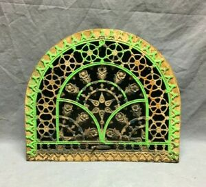 Antique Cast Iron Arched Top Heat Grate Wall Register Floral 11x13 Vtg 285 20b