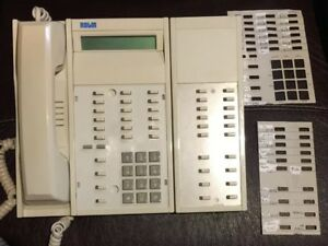 Vtg Busines Rolm Office Phone Rp624sl Gry Spk Siemens With Extension Module H