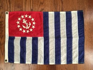 Vintage U S Power Squadrons Yacht Ensign Flag Nautical Boat Sewn Anchor