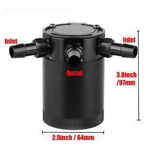 Universal 3 Port Oil Catch Can Tank Reservoir Air Oil Separator Racing Baffled