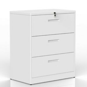 White Lateral File Cabinet 1pc Spacious 3 Drawers Metal