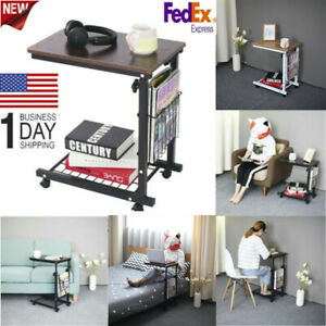 Bed Side Table Hospital Bedside Wheels Rolling Adjustable Height Overbed Tray Us