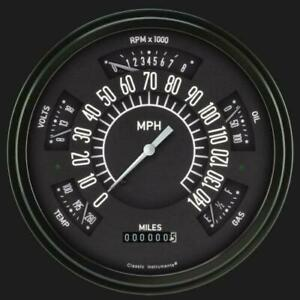 1966 1977 Ford Bronco black Gauges Classic Instruments fb66b Made In Usa