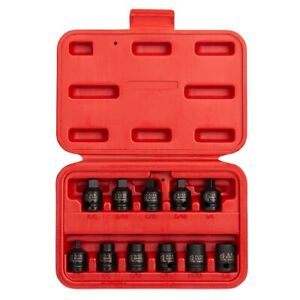 11 Piece 3 8 In Drive Drain Pipe Plug Impact Socket Set Sun3841 Brand New