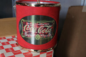 Coca Cola ice bucket never used with original box red flocked with clear handle