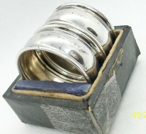 Vintage Pair Of Cased English Sterling Silver Napkin Rings 17 Grams