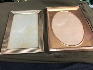 Vintage Art Deco Gold Metal Picture Photo Frames 2 Square 4x6 And Raised Oval
