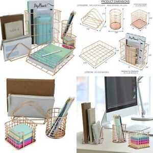 Desk Organizer Set 5 Pc Accessories Includes Pencil Cup Hol Copper rose Gold