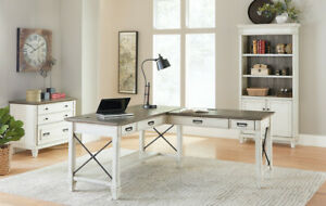 Hartford White 4 Piece Office Set With Open L Shaped Writing Desk