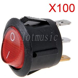 100 Pcs Rocker Switch 3 Pin Spst On off With Neon Lamp Round Red