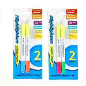 2 Pack Double Edge Chisel Tip Highlighters