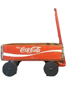 Vintage Coca Cola Wooden Crate Box Wagon Coke Soda Pop Wood Red Fast Shipping