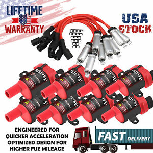 8pack Ignition Coil spark Plug Wire For Chevy 4 8 5 3 6 0l 1999 2000 2001 2005