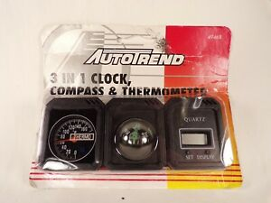 Vintage Auto Accessory Dashboard Compass Thermometer Clock W Original Package