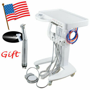 Portable Dental Delivery Unit Work Air Compressor Machine Cart Led Handpiece