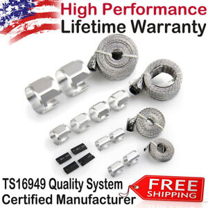 Stainless Steel Braided Hose Sleeving Clamp Fuel Line Radiator Heater Silver Us