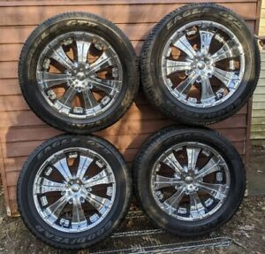 4 20 inch Veloche Rims Center Caps W Tires P285 50r20 Euc Trucks Suvs 6 Bolts