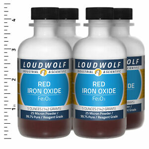 Iron Oxide Red 1 3 Lb Total 4 Bottles Reagent Grade 25 Micron Powder
