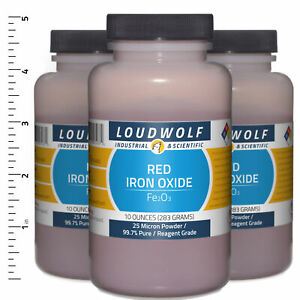 Iron Oxide Red 1 9 Lb Total 3 Bottles Reagent Grade 25 Micron Powder