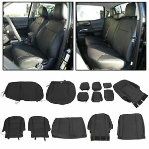 Black Front Rear Seat Covers For 2016 2020 Toyota Tacoma Double Cab