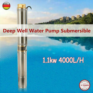 New Submersible Deep Well Water Pump 4 Inch 1 1kw 4000 L h 6 Bar Stainless Steel