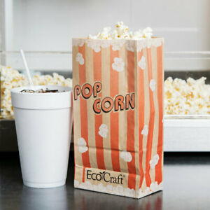 46 Oz Ecocraft Disposable Red Printed Grease Proof Popcorn Bag 1000 case