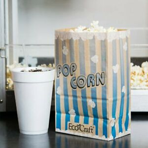 85 Oz Ecocraft Disposable Blue Printed Grease Proof Popcorn Bag 500 case