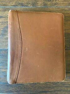 Brown Cognac Leather Franklin Quest Binder Planner Cover Notebook 11x9 For 8 5x5